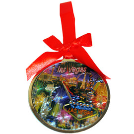 Round Metal Las Vegas ornament with a Red Ribbon and LV Neon Fireworks Design in the Center- front side.