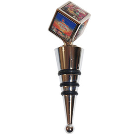Quality Heavy Metal Bottle Wine Stopper with a Cube and Multiple small Pictures of Las Vegas on Top.