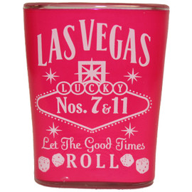 Pink Whisky square Las Vegas Shot glass