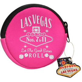 Pink Round cloth coin purse, White print Las Vegas Let the Good Times Roll with dice design.