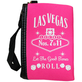 Pink cloth coin purse, White print Las Vegas Let the Good Times Roll with dice design, wristlet strap on the zipper.