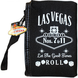Black cloth coin purse, White print Las Vegas Let the Good Times Roll with dice design, wristlet strap on the zipper.