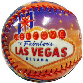 Baseball with a colorful Las Vegas Lettering and Vegas welcome sign and scenes on it.