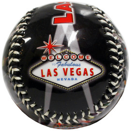 Black Baseball with Red Las Vegas Lettering and Vegas design on it.