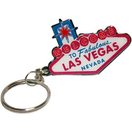 Pink and White Design Cut Shape Las Vegas Sign Metal Keychain.