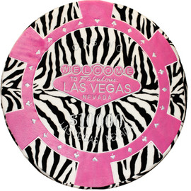 Front side of Round Poker Chip Shape Decorative Pillow in Hot Pink and Zebra accent, designed to replicate a $10,000 poker chip.