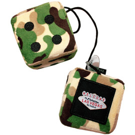 Green Camo Print Plush Dice Pair. Las Vegas as the one pip.