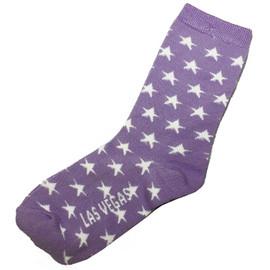 kid sized crazy las vegas souvenir socks with stars and purple background