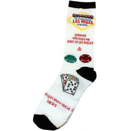 crazy fun las vegas someone who loves me white background socks with other icon symbols