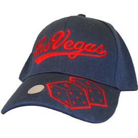 Blue cap with red Las Vegas on the crown and Dice icon on the Bill