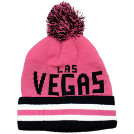 adult size pink toboggan with puff and Las Vegas in black