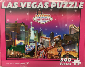 puzzle souvenir of Las Vegas with pink background and Casinos that are popular
