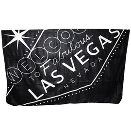 Las Vegas Travel Blanket Souvenir in Black with Las Vega Sign in Gray