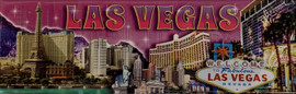 Pink Skyline Las Vegas Magnet with Major Casinos