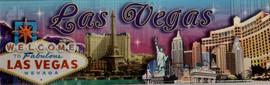 Rectangle Las Vegas Casino Magnet with Major Casinos and Las Vegas Sign