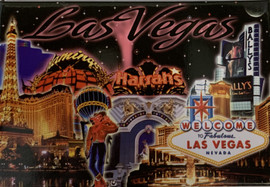 Dark Night Background showing Las Vegas Casinos collage picture magnet