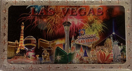 Metallic Magnet from Vegas With Fireworks Design on it.