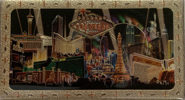Metallic Magnet from Vegas With Black Spotlights Design on it.