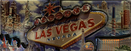 3D Magnet of Las Vegas Blue Cloud  Design Souvenir rectangle.