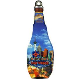 Bottle Shape Coozie Cooler with Las Vegas Neon Design
