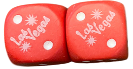 Pair of Red Las Vegas Souvenir Dice, great for Games.