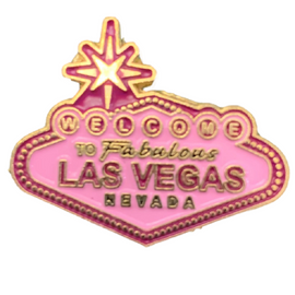 Metal Las Vegas Welcome sign shaped Lapel Pin in all Pink Hues.