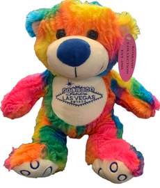 Rainbow Fur colored Plush Las Vegas Bear Souvenir.
