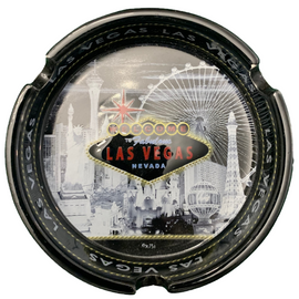 Round ceramic ashtray with a Gray Skyline design on it showing iconic casinos and landmarks.