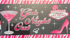 Girl's Night Out Vegas design black towel with hot pink and white zebra border.