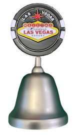 Metal Silver Las Vegas Bell with a Black Las Vegas Poker Chip on the top portion of the handle.