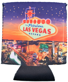 Las Vegas Glittery Star design can coozie, drink cooler, folds flat.