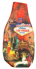 Bottle Shape Coozie Cooler with Las Vegas Fireworks bursting Design