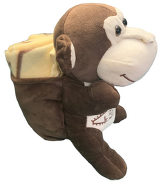 Side View of brown plush Las Vegas Monkey with Tan Child Blanket in Pouch.