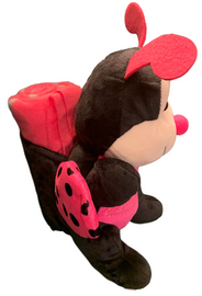 Side View of black and hot pink plush Las Vegas Lady Bug with Hot Pink Child Blanket in Pouch.