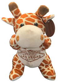 Front View of plush Las Vegas Giraffe with welcome sign embroidered on its tummy.