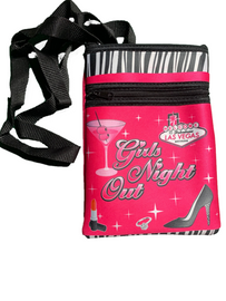 Hot Pink background smaller disco purse with a fun girly design and zebra topper. A cute high heel shoe, martini glass, lipstick, and the Las Vegas welcome sign are design elements on this one.