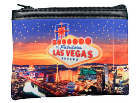 Colorful cloth coin purse, Sunset design over the Las Vegas Strip.