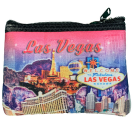 Colorful cloth coin purse, Pink Skies design over the Las Vegas Strip.