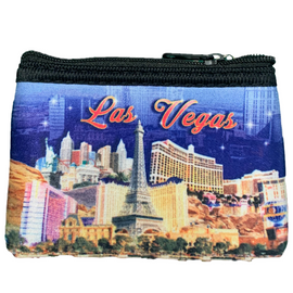 Colorful cloth coin purse, pretty blue background which showcases our amazing Las Vegas Strip.