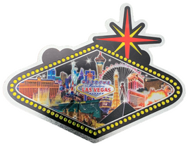One side view of the Sign Shape city scene magnet with a Black Background.