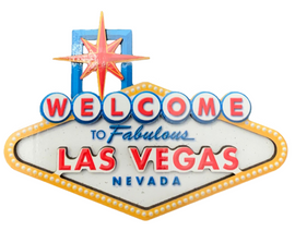 Shaped like the Las Vegas Welcome Sign in white, blue, red, and yellow colors, this is a wood magnet.