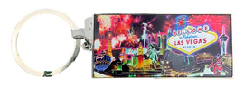 Metal Rectangle Las Vegas themed keychain with Casinos and Fireworks in the background.