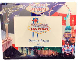 US Flag background on this glass Photo Frame showcasing the Beautiful Las Vegas Casinos in full color for a pop of contrasting elements.
