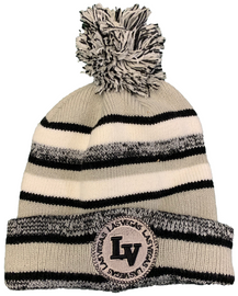 adult size gray toboggan with puff and LV in black