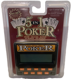 Black case and orange buttons on a electronic poker hand held game