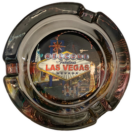 Glass Ashtray with our Las Vegas Scene in Black design.