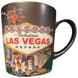 Las Vegas Scene Mug with Black Background.