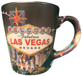 Black Background Las Vegas Scene Mug side View.
