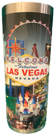 Stainless Steel Thermo Mug in Black Background has a Las Vegas City Scene all over it.