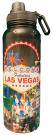 Black Background Las Vegas Scene stainless steel Water Bottle.